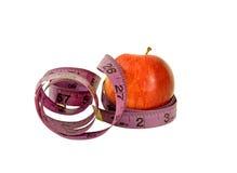 Διατροφή χρόνος-Apple με τη μέτρηση της ταινίας Στοκ Φωτογραφία