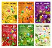 Διατροφή χρώματος Detox, φρούτα και λαχανικά, μούρα διανυσματική απεικόνιση