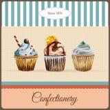 Διαφήμιση βιομηχανιών ζαχαρωδών προϊόντων με το watercolor Απεικόνιση αποθεμάτων