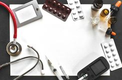 Διαφήμιση διαβήτη ιατρικής και έννοια υγειονομικής περίθαλψης Στοκ Εικόνες