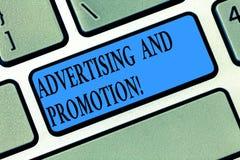 Διαφήμιση και προώθηση κειμένων γραψίματος λέξης Επιχειρησιακή έννοια για τις ενέργειες να υποκινηθούν οι πελάτες για να αγοράσει στοκ φωτογραφία με δικαίωμα ελεύθερης χρήσης