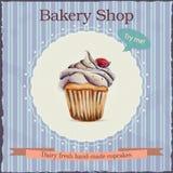 Διαφήμιση καταστημάτων αρτοποιείων Watercolor με το cupcake Διανυσματική απεικόνιση