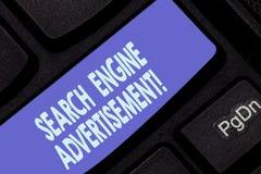 Διαφήμιση μηχανών αναζήτησης γραψίματος κειμένων γραφής Έννοια που σημαίνει τοποθετώντας τις σε απευθείας σύνδεση διαφημίσεις στο στοκ φωτογραφία με δικαίωμα ελεύθερης χρήσης