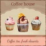Διαφήμιση σπιτιών καφέ με το watercolor Ελεύθερη απεικόνιση δικαιώματος