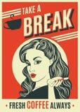 Διαφήμιση της αναδρομικής αφίσας καφέ με τη λαϊκή γυναίκα τέχνης Στοκ Εικόνες