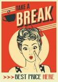 Διαφήμιση της αναδρομικής αφίσας καφέ με τη λαϊκή γυναίκα τέχνης Στοκ Εικόνα