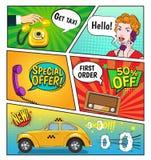 Διαφήμιση της σελίδας κόμικς ταξί ελεύθερη απεικόνιση δικαιώματος