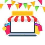 Διαφήμιση φεστιβάλ ή γεγονότος καταστημάτων on-line αγορών Στοκ Φωτογραφίες