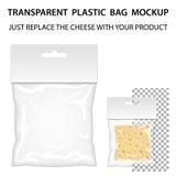 Διαφανές πρότυπο πλαστικών τσαντών έτοιμο για το σχέδιό σας κενό πακέτο απεικόνιση αποθεμάτων