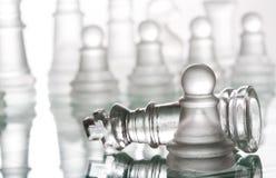 Διαφανές σκάκι γυαλιού Στοκ Εικόνες