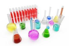 Διαφανές σύνολο φιαλών γυαλιού χημικό τη χρωματισμένη υγρή και κενή κούπα που απομονώνεται από στο υπόβαθρο τρισδιάστατη απόδοση απεικόνιση αποθεμάτων
