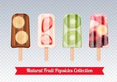 Διαφανές σύνολο Popsicles φρούτων διανυσματική απεικόνιση
