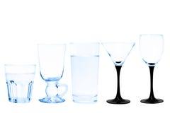 Διαφανές σύνολο γυαλιού που απομονώνεται στο άσπρο υπόβαθρο Στοκ εικόνες με δικαίωμα ελεύθερης χρήσης