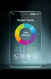 Διαφανές smartphone με το ζωηρόχρωμο επιχειρησιακό διάγραμμα στην οθόνη Στοκ φωτογραφία με δικαίωμα ελεύθερης χρήσης