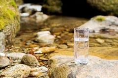 Διαφανής ένας γυαλί/γυαλί με το ορυκτό νερό ποταμού βουνών στέκεται σε μια πέτρα εκτός από τον κολπίσκο ποταμών βουνών Στοκ φωτογραφίες με δικαίωμα ελεύθερης χρήσης