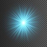 Διαφανής ελαφριά επίδραση πυράκτωσης Έκρηξη αστεριών με τα σπινθηρίσματα Το μπλε ακτινοβολεί επίσης corel σύρετε το διάνυσμα απει απεικόνιση αποθεμάτων