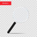 Διαφανής ενίσχυση - ρεαλιστικό πιό magnifier διάνυσμα φακών γυαλιού που απομονώνεται πιό magnifier Στοκ Εικόνες