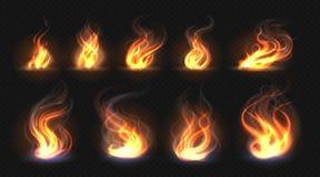 Ρεαλιστικές φλόγες πυρκαγιάς Διαφανής επίδραση φανών, αφηρημένη φλόγα κόκκινου φωτός, πρότυπο σχεδίου πυρών προσκόπων Διανυσματικ ελεύθερη απεικόνιση δικαιώματος