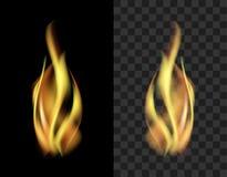 Διαφανής καπνός φλογών πυρκαγιάς που απομονώνεται σε ένα μαύρο υπόβαθρο tran Στοκ εικόνα με δικαίωμα ελεύθερης χρήσης