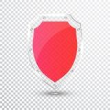 Διαφανής κόκκινη ασπίδα Εικονίδιο διακριτικών γυαλιού ασφάλειας Έμβλημα φρουράς μυστικότητας Έννοια ασπίδων προστασίας Ασφαλές στ διανυσματική απεικόνιση