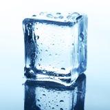 Διαφανής κύβος πάγου με την αντανάκλαση στο μπλε γυαλί με τις πτώσεις νερού Στοκ εικόνα με δικαίωμα ελεύθερης χρήσης