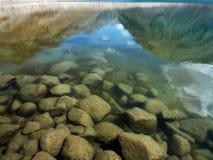 Διαφανής σαφής παγετώδης λίμνη βουνών νερού: κοντά στην ακτή οι λίθοι είναι ορατοί και στην επιφάνεια όπως στον καθρέφτη είναι απ Στοκ Εικόνες