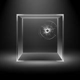 Διαφανής σπασμένος κύβος κιβωτίων γυαλιού στο υπόβαθρο απεικόνιση αποθεμάτων