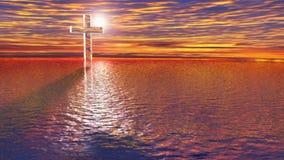 Διαφανής σταυρός γυαλιού στο backlight στη θάλασσα κατά μια μυστική, μυστήρια άποψη - τρισδιάστατο δίνοντας βίντεο ελεύθερη απεικόνιση δικαιώματος