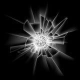 Διαφανής στενός επάνω παραθύρων γυαλιού ρωγμών στο σκοτεινό μαύρο υπόβαθρο ελεύθερη απεικόνιση δικαιώματος