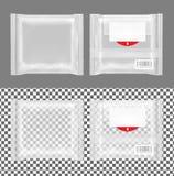 Διαφανής συσκευασία με το χτύπημα για τα πρόχειρα φαγητά, τα τρόφιμα, τα τσιπ, το τυρί και τα καρυκεύματα ελεύθερη απεικόνιση δικαιώματος