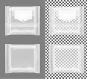 Διαφανής συσκευασία με το χτύπημα για τα πρόχειρα φαγητά, τα τρόφιμα, τα τσιπ, το τυρί και τα καρυκεύματα απεικόνιση αποθεμάτων
