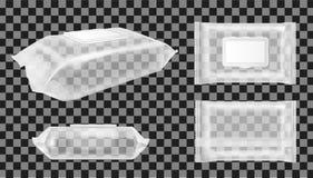 Διαφανής υγρός σκουπίζει τη συσκευασία με το χτύπημα Κενό πακέτο πρόχειρων φαγητών τροφίμων για τα τσιπ, την καραμέλα και άλλα πρ διανυσματική απεικόνιση