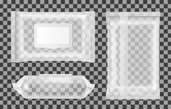 Διαφανής υγρός σκουπίζει τη συσκευασία με το χτύπημα διανυσματική απεικόνιση