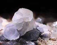 Διαφανής calcite φωτογραφία κινηματογραφήσεων σε πρώτο πλάνο πετρών στοκ εικόνα
