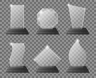 Διαφανή βραβεία τροπαίων γυαλιού με τη σκοτεινή στάση Σαφή πιστοποιητικά βραβείων γυαλιού, απόθεμα τροπαίων κρυστάλλου ομάδων στό ελεύθερη απεικόνιση δικαιώματος