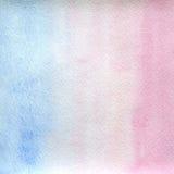 Διαφανή τεντώνοντας σαφή, ανοικτό μπλε και ρόδινα χρώματα σύστασης Watercolor το αφηρημένο υπόβαθρο, σημείο, θαμπάδα, γεμίζει Στοκ Φωτογραφίες