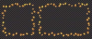 Διαφανή τετράγωνο και ορθογώνιο φω'των νεράιδων Χριστουγέννων που διαμορφώνονται Στοκ Εικόνες
