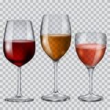 Διαφανή goblets γυαλιού με το κρασί Στοκ Εικόνες