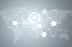 Διαφανή hexagons, κύκλοι πυράκτωσης και παγκόσμιος χάρτης Στοκ εικόνα με δικαίωμα ελεύθερης χρήσης