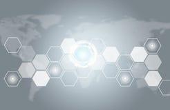 Διαφανή hexagons, παγκόσμιος χάρτης και άλλα στοιχεία Στοκ Φωτογραφία
