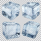 Διαφανείς ανοικτό μπλε κύβοι πάγου Στοκ Εικόνα