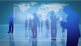 Διαφανείς οθόνες με τις σκιαγραφίες των επιχειρηματιών απεικόνιση αποθεμάτων