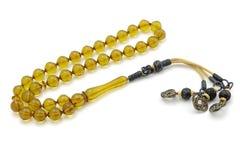 Διαφανείς bakelite rosary χάντρες προσευχής που απομονώνονται στο λευκό στοκ εικόνες με δικαίωμα ελεύθερης χρήσης
