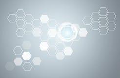 Διαφανείς hexagons και κύκλοι πυράκτωσης Στοκ εικόνα με δικαίωμα ελεύθερης χρήσης