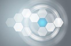 Διαφανείς hexagons και κύκλοι πυράκτωσης Στοκ Εικόνα