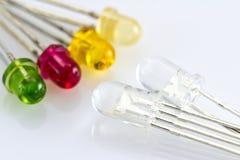 Διαφανών RGB οδηγήσεων και διαφορετικό χρωματισμένο LEDs στοκ εικόνα