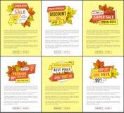 Διαφημίσεις εμβλημάτων μείωσης δαπανών πτώσης φθινοπώρου ελεύθερη απεικόνιση δικαιώματος