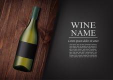 διαφημιστικό έμβλημα Ένα ρεαλιστικό μπουκάλι του άσπρου κρασιού με τη μαύρη ετικέτα στο photorealistic ύφος στον ξύλινο σκοτεινό  Στοκ φωτογραφίες με δικαίωμα ελεύθερης χρήσης