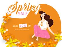 Διαφημιστικό σχέδιο εμβλημάτων ή αφισών με τον όμορφο χυμό κατανάλωσης νέων κοριτσιών απεικόνιση αποθεμάτων