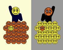 Διαφορά πεσιμιστών αισιόδοξων Στοκ φωτογραφία με δικαίωμα ελεύθερης χρήσης